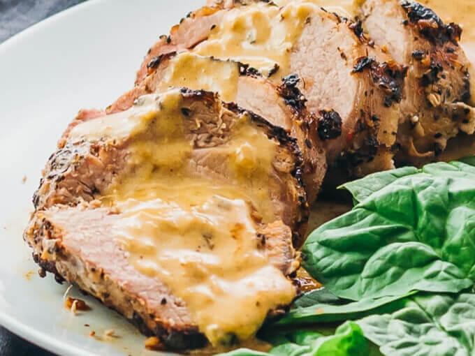 Keto Pork Tenderloin With Creamy Mustard.